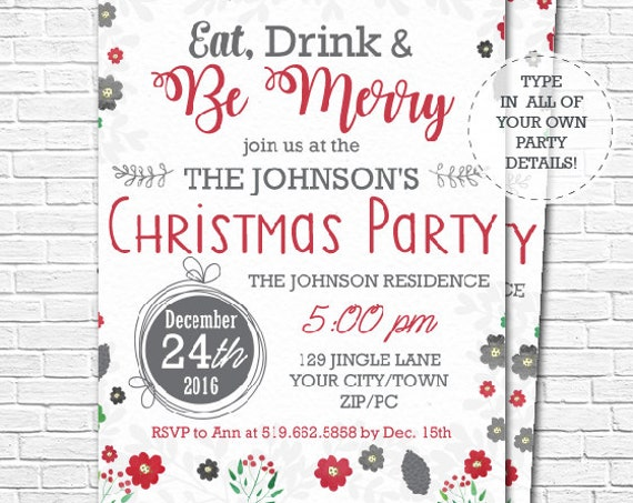 Christmas Party Invitation - Christmas Invitation - Eat Drink and Be Merry Party Invitation - Download & Edit in Adobe Reader at home