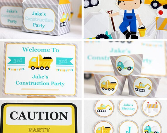 Construction Truck Birthday Party Invitations & Decorations - Construction Party - Instant Download - Personalize at home in Adobe Reader