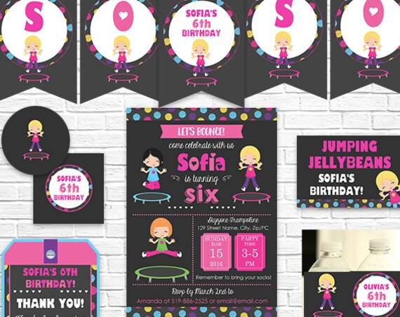 Trampoline Birthday Invitation and Decorations - Trampoline Invitation - Blonde Hair Girl - Download & Personalize in Adobe Reader at home