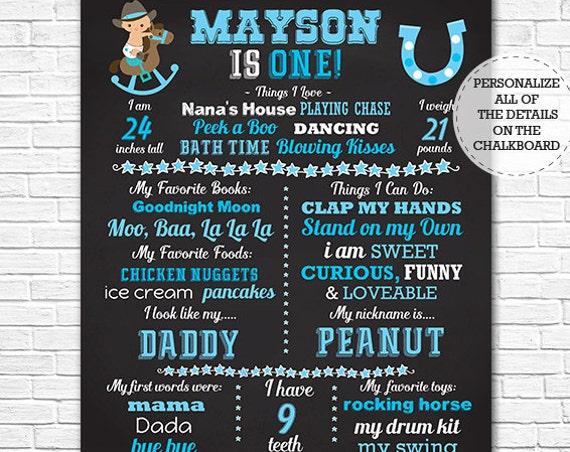 Cowboy 1st Birthday Chalkboard - Western 1st Birthday Chalkboard - Cowboy Chalkboard - Download & Personalize in Adobe Reader at home