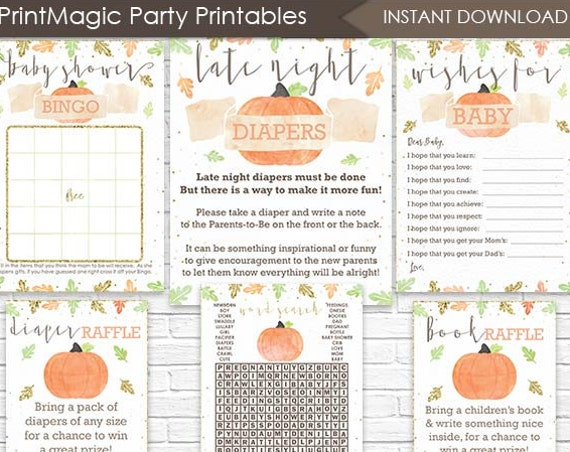 Fall Pumpkin Baby Shower Games - Instant Download - Fall Baby Shower Activities - Fall Diaper Raffle, Bingo, Wishes for Baby & More