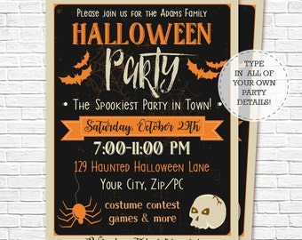 Halloween Party Invitation - Halloween Invitation - Halloween Costume Party - Halloween Birthday - Download & Personalize in Adobe Reader