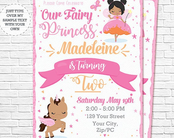 African American Fairy Princess Invitation - Fairy and Unicorn Birthday Invitation - Instant Download & Personalize in Adobe Reader at home