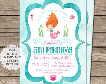 Watercolor Mermaid Invitation - Red Hair Mermaid Birthday Invitation - Instantly Download & Personalize in Adobe Reader