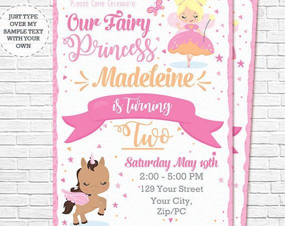 Blonde Fairy Princess Invitation - Fairy and Unicorn Birthday Invitation - Unicorn Invitation - Download & Personalize in Adobe Reader