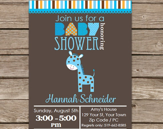 Blue Giraffe Boy Baby Shower Invitation - Jungle Baby Shower - Giraffe Invitation - Download & Personalize at home in Adobe Reader