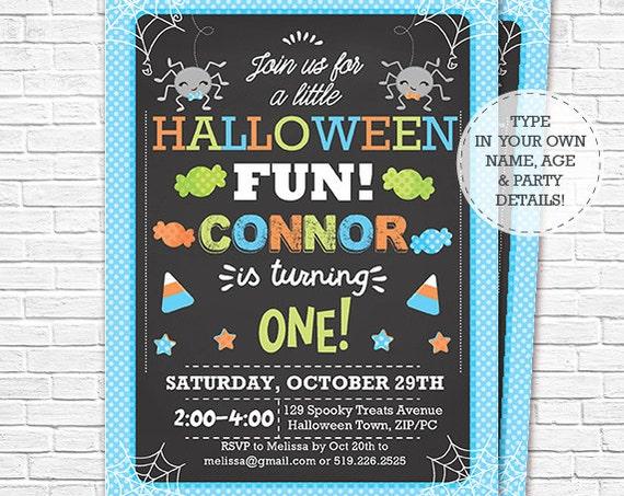 Boy Halloween Birthday Invitation - Halloween 1st Birthday - Halloween Party - Halloween Invitation - Download & Personalize in Adobe Reader
