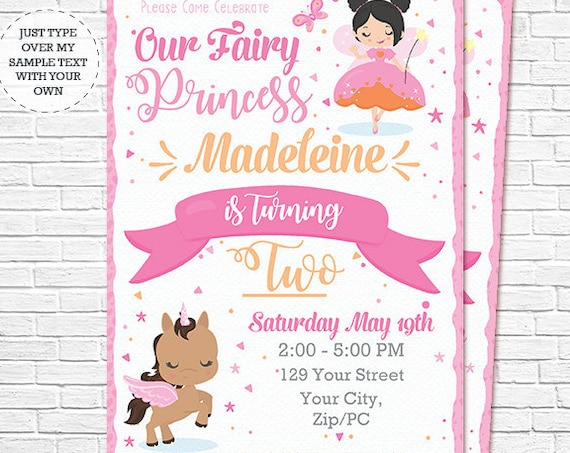 Black Hair Fairy Princess Invitation - Fairy and Unicorn Birthday Invitation - Instant Download & Personalize in Adobe Reader at home