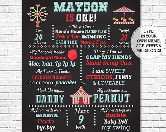 Vintage Circus Chalkboard Poster - Circus Chalkboard - 1st Birthday Chalkboard Poster - Instant Download & Edit in Adobe Reader at home