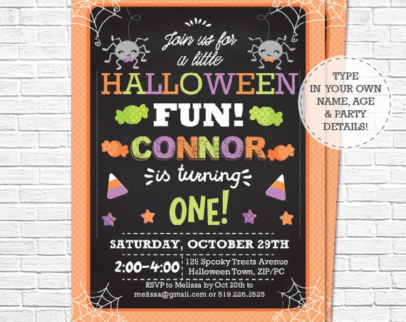 Halloween Birthday Invitation - Halloween Party - Halloween 1st Birthday or Any Age - Halloween Invitation - Personalize in Adobe Reader