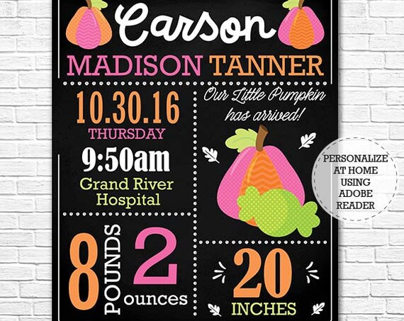 Fall Birth Announcement, Baby Birth Announcement Chalkboard - Halloween Girl Birth Announcement - Download Now & Personalize in Adobe Reader