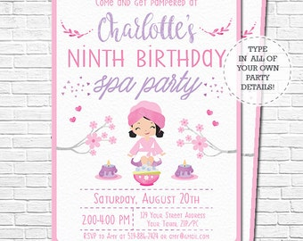 Spa party invitation spa birthday invitation brown hair spa party invitation spa birthday invitation black hair pamper party invitation watercolor download personalize in adobe reader stopboris