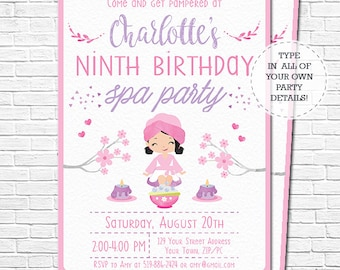 Spa party invitation spa birthday invitation brown hair spa party invitation spa birthday invitation black hair pamper party invitation watercolor download personalize in adobe reader stopboris Images