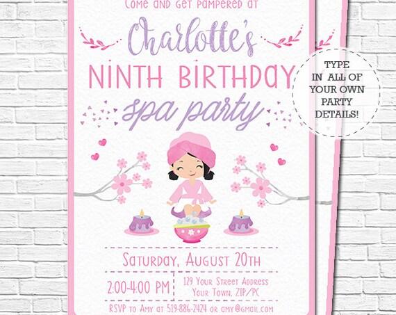 Spa Party Invitation - Spa Birthday Invitation - Black Hair - Pamper Party Invitation - watercolor - Download & Personalize in Adobe Reader