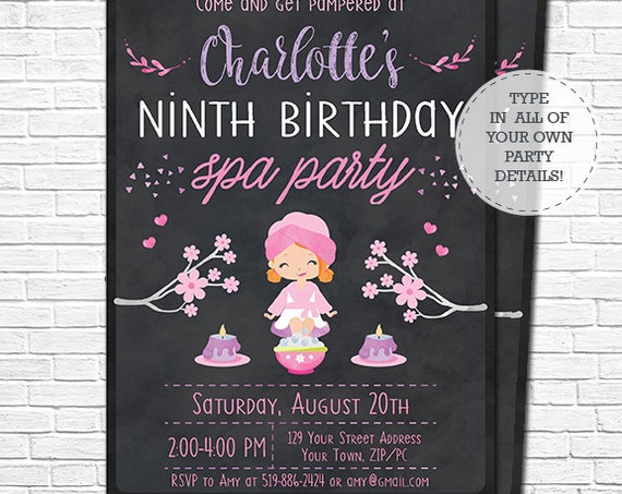 Spa Party Invitation - Spa Birthday Invitation - Red Hair Spa Girl - Pamper Party Invitation - Download & Personalize in Adobe Reader