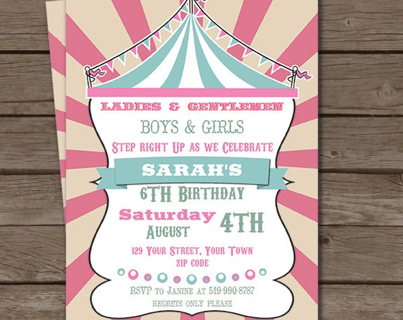 Pink Blue Vintage Circus Party Invitation - Pink Circus Invitation - Girl Circus Party - Download & Personalize at home in Adobe Reader