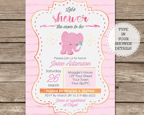 Elephant Baby Shower Invitation - Mom to Be Baby Shower Invitation - Instant Download & Edit in Adobe Reader - Girl Baby Shower - Watercolor