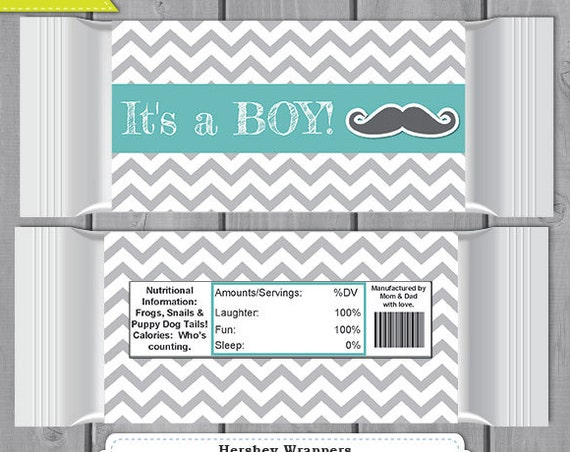 Boy Baby Shower Mustache Large Hershey Bar Wrapper - Editable Text Template - Instant Download - Boy Baby Shower Favor - Candy Bar Wrapper