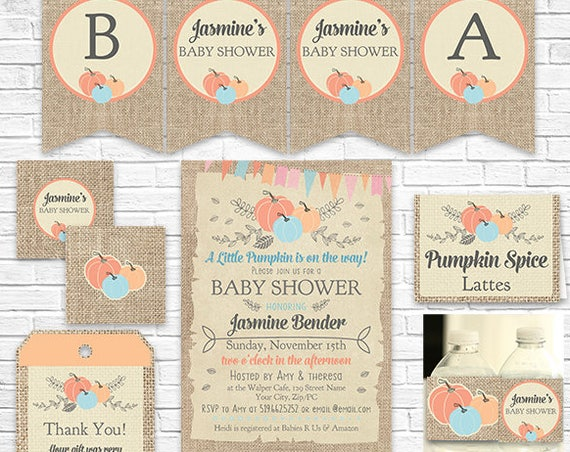 A Little Pumpkin Baby Shower Invitation and Decorations - Fall Baby Shower - Autumn Baby Shower - Download & Personalize in Adobe Reader