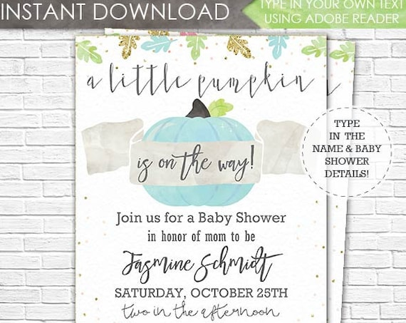Blue Pumpkin Baby Shower Invitation - A Little Pumpkin is on the Way Baby Shower - Boy Baby Shower - Download & Personalize in Adobe Reader