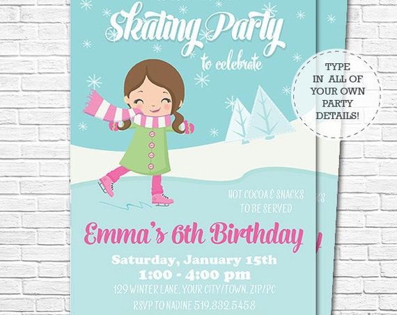 Pink Ice Skating Invitation - Pink Winter Birthday Invitation - Ice Skating Birthday Invitation - Download & Personalize in Adobe Reader