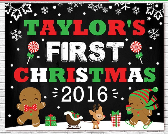 Baby 1st Christmas Chalkboard, Baby First Christmas Chalkboard, Christmas Photo Prop - Christmas Sign - Download Now & Edit in Adobe Reader
