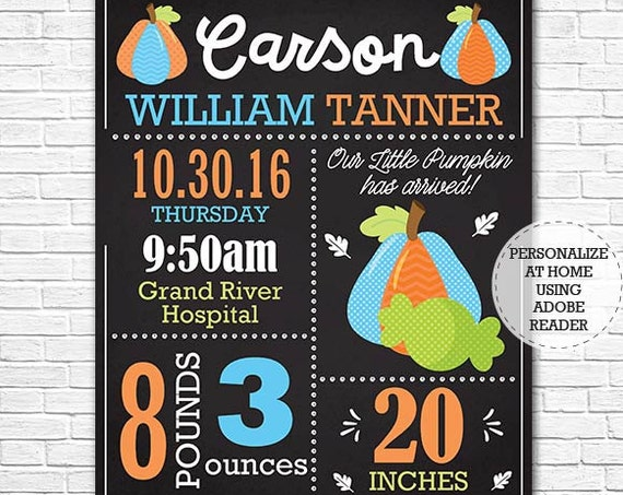 Baby Birth Announcement Chalkboard - Fall Birth Announcement - Halloween Boy Birth Announcement - Download Now & Personalize in Adobe Reader