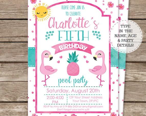 Flamingo Birthday Invitation - Flamingo Invitation - Watercolor Flamingo Invitation - Summer Party - Download & Personalize in Adobe Reader
