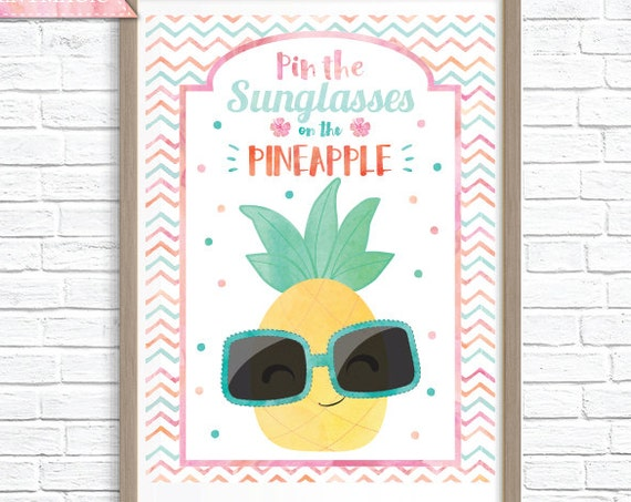 Pin the Sunglasses on the Pineapple Printable Party Game - 3 Poster Sizes - Tropical Party Game - Summer Party Game - Instant Download