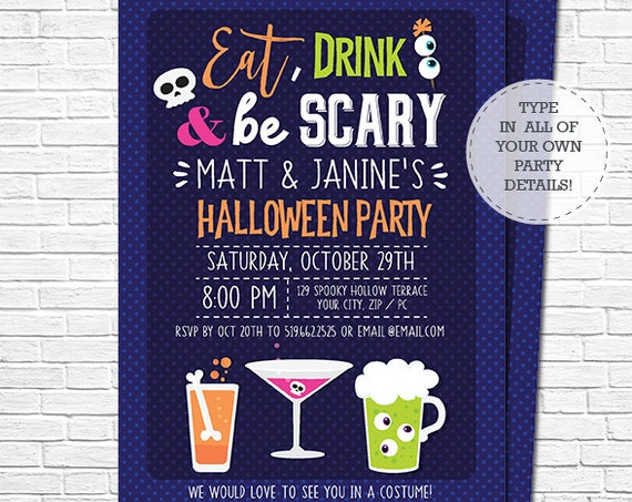 Halloween Invitation - Halloween Costume Party - Halloween Party Invitation - Halloween Cocktail Party - Personalize in Adobe Reader