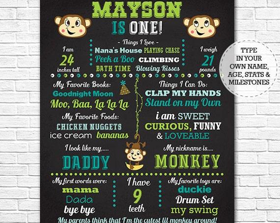 Little Monkey Chalkboard - Jungle Chalkboard - Monkey 1st Birthday Chalkboard Poster - Instant Download & Edit in Adobe Reader at home