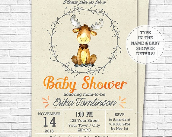 Woodland Baby Shower Invitation - Cute Moose Invitation - Fall Forest Baby Shower - Little Moose - Download & Personalize in Adobe Reader