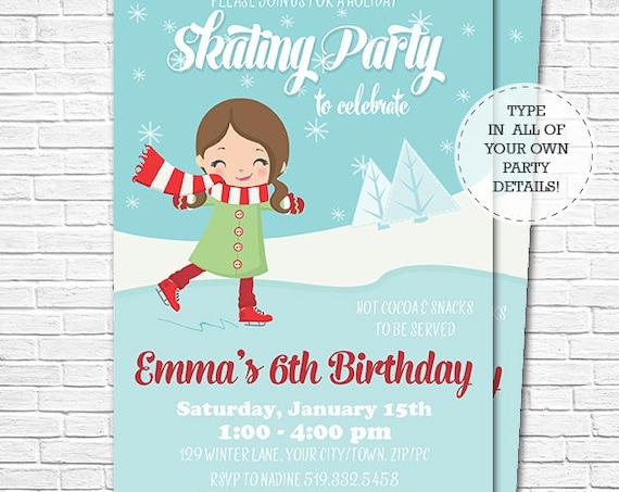 Ice Skating Invitation - Winter Birthday Invitation - Ice Skating Birthday Invitation - Download & Edit in Adobe Reader at home