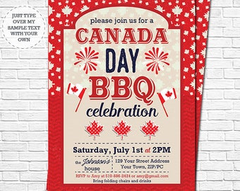 Canada Day BBQ Invitation - Canada Day Invitation - Canada 150th Barbecue Invitation - Instantly Download & Personalize in Adobe Reader