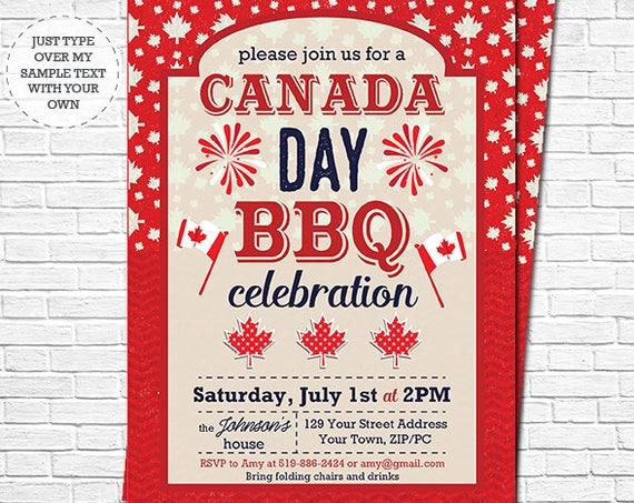 Canada Day BBQ Invitation - Canada Day Invitation - Canada 150th Barbecue Invitation - Instantly Download & Personalize in Adobe Reader