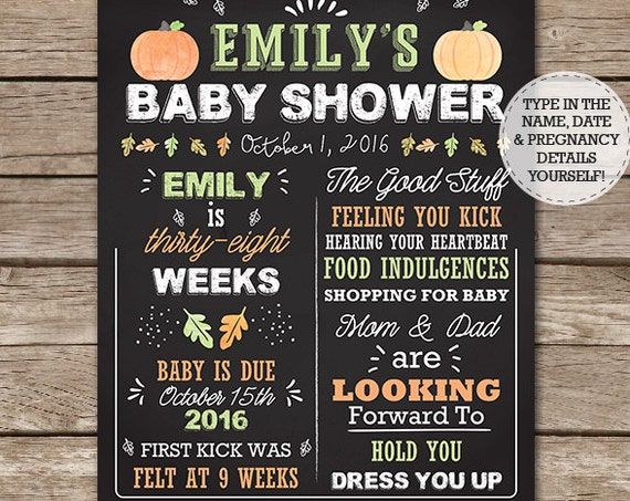 Fall Baby Shower Chalkboard Sign - Little Pumpkin Baby Shower Chalkboard - Autumn Chalkboard - Download & Edit in Adobe Reader at home