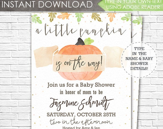 Fall Pumpkin Baby Shower Invitation - A Little Pumpkin is on the Way Baby Shower - Gender Neutral - Download & Personalize in Adobe Reader