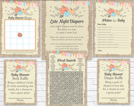 Fall Pumpkins Baby Shower Games - Instant Download - Fall Baby Shower Activities - Autumn Baby Shower - Late Night Diapers, Bingo & More