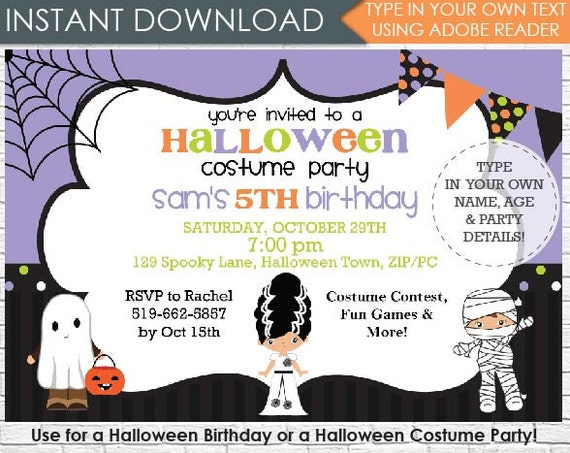 Kids Halloween Party Invitation - Halloween Birthday- Halloween Invitation- Halloween Costume Party - Download & Personalize in Adobe Reader
