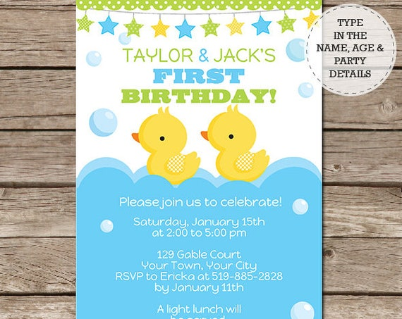 Twin Ducks Birthday Party Invitation - Boy Twin Invitation - Twin Boy Invitation - Download & Personalize at home in Adobe Reader