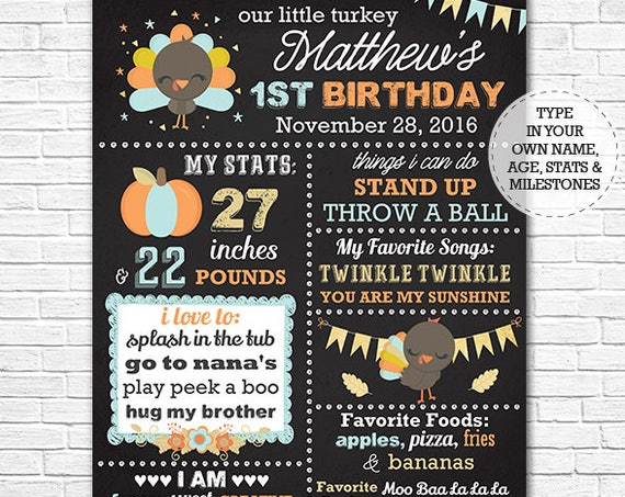 Our Little Turkey - Thanksgiving Birthday Chalkboard - Fall 1st Birthday Chalkboard Poster - Download & Personalize in Adobe Reader at home