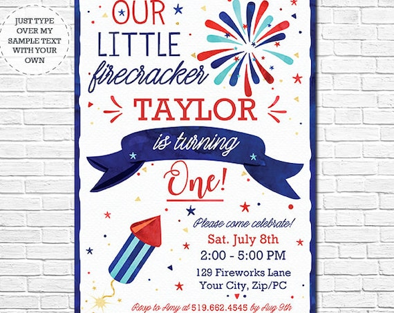 Our Little Firecracker Invitation - July 4th Birthday Invitation - 4th of July Birthday - Instantly Download & Personalize in Adobe Reader