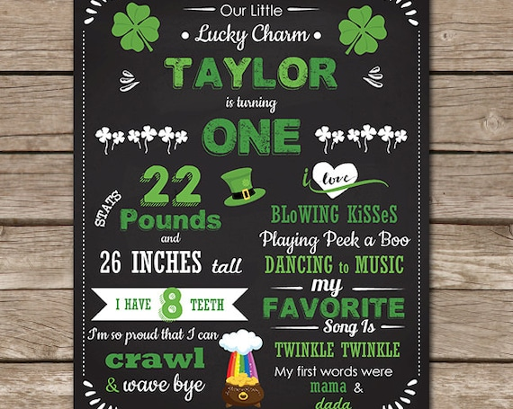St Patrick's Day 1st Birthday Chalkboard Poster - St Patrick's Day Chalkboard - Photo Prop - Instant Download & Personalize in Adobe Reader