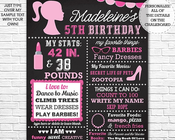 Glamour Girl Chalkboard Poster - Pink Girl Fashion Chalkboard Poster - Girl Birthday Poster - Download & Personalize in Adobe Reader at home