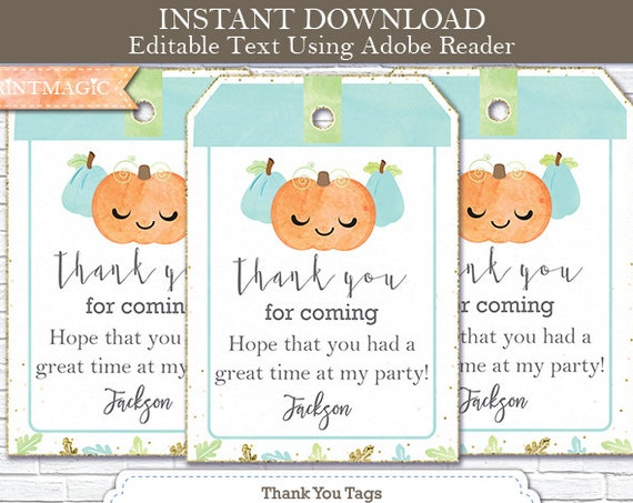 Fall Birthday Thank You Tags - Fall Pumpkin Thank You Tag - Little Pumpkin Boy - Instant Download & Personalize in Adobe Reader at home