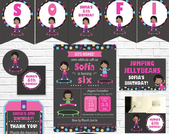 Trampoline Birthday Invitation and Decorations - Trampoline Invitation - African American Girl - Download & Personalize in Adobe Reader