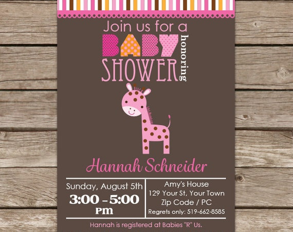 Pink Giraffe Baby Shower Invitation - Jungle Baby Shower - Girl Baby Shower - Giraffe Baby Shower - Instant Download & Edit in Adobe Reader