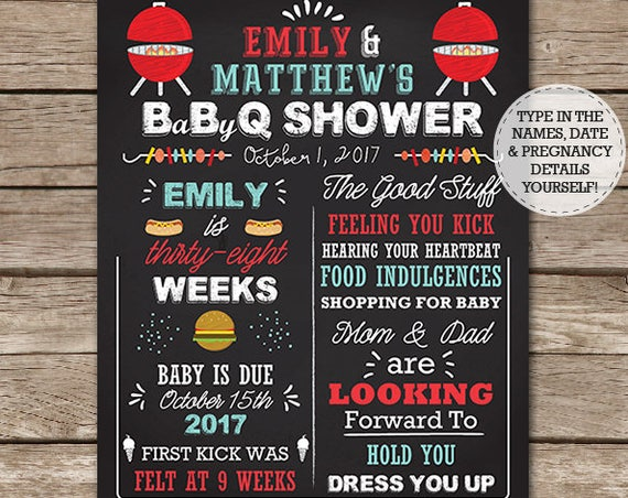 BBQ Baby Shower Chalkboard Sign - Baby Q Shower Chalkboard - Barbecue Baby Shower - Download & Edit in Adobe Reader at home