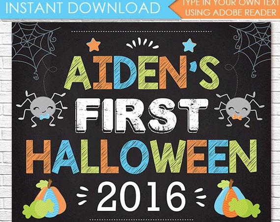 Boy 1st Halloween Chalkboard, First Halloween Chalkboard, Baby 1st Halloween, Halloween Photo Prop - Download & Personalize in Adobe Reader