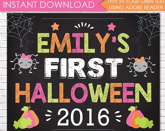 Pink 1st Halloween Chalkboard, First Halloween Chalkboard, Girl 1st Halloween, Halloween Photo Prop - Download & Personalize in Adobe Reader